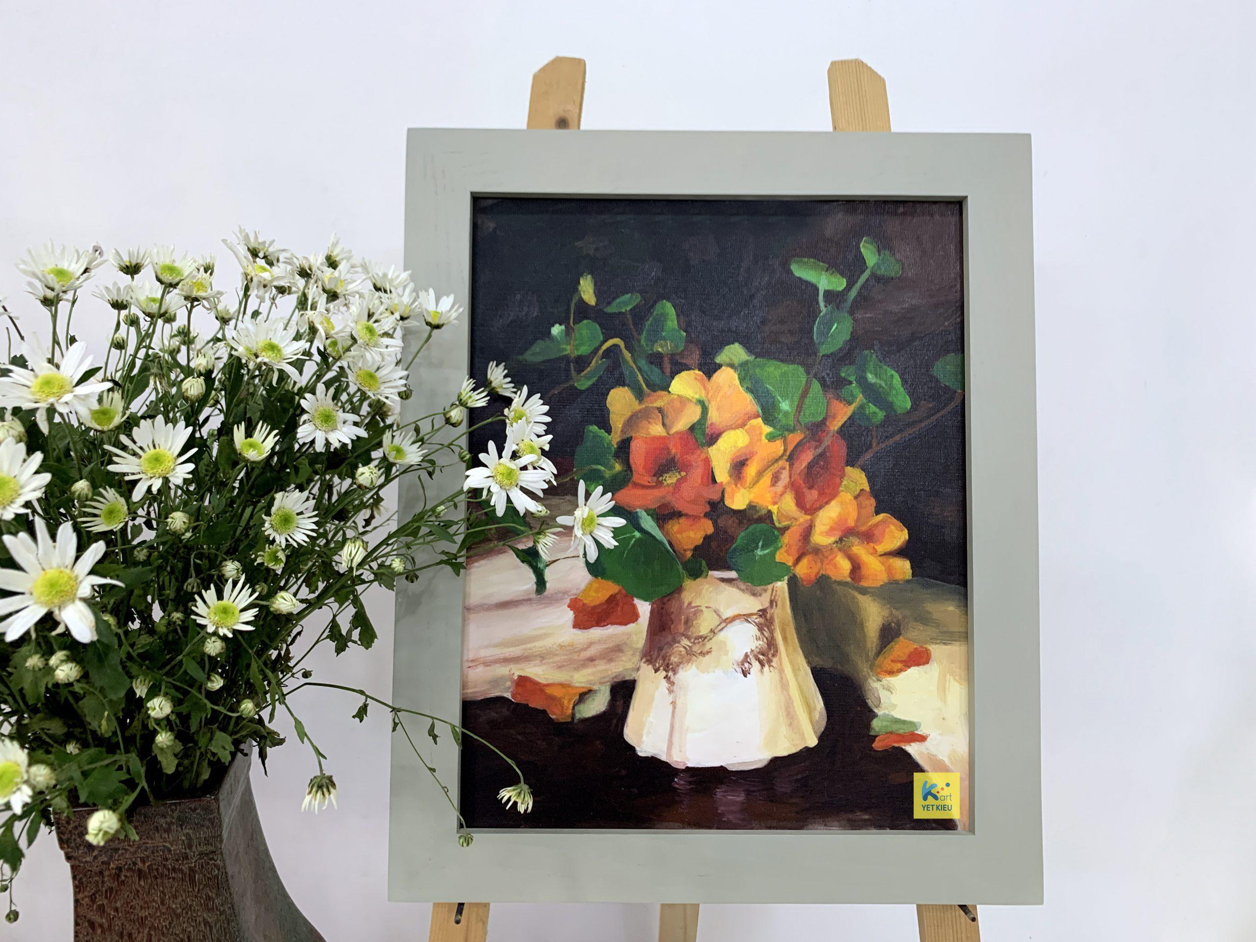 Tranh tĩnh vật hoa, lớp vẽ sơn dầu